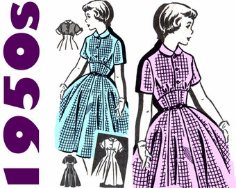 "1950s Dress Pattern Empire Waist Corsage Dress MAIL ORDER 8154 FF bust 34"" Fit and Flare Shirtwaist Dress Peter Pan Collar Rockabilly Dress"