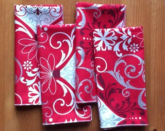Red & White Christmas Ornament Cloth Napkins, Set of 12