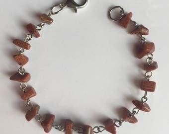 Bronze Glitter Chip Beaded Bracelet