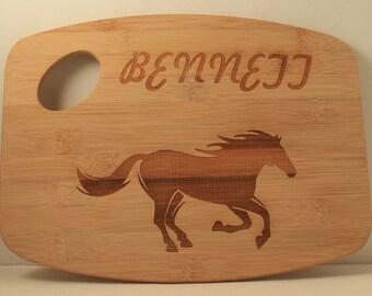 Horse Cutting Board Bamboo Cutting Board Custom Name Cutting Board Persinalized Gift Horse Decor Kitchen Decor