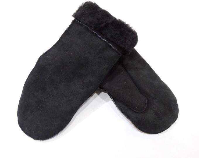 Shearling mouton fur mittens F444