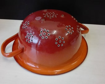 Enamel colander, Orange and Red