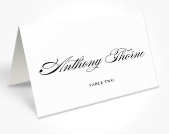 Black and White Calligraphy Wedding Place Cards, Beautiful Script Font, Free Colour Changes, DEPOSIT | Peach Perfect Australia