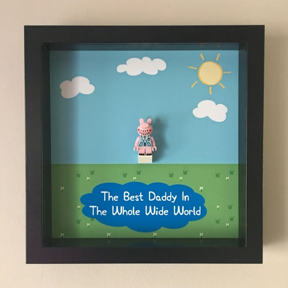 Daddy Peppa Pig Minifigure Frame, Mum, Gift, Geek, Box, Birthday, Mum, Anniversary, For Him, Lego, Comic, Father's Day
