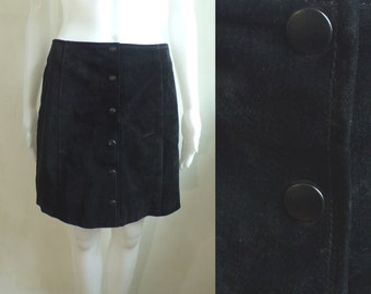 "40%offAug22-24 90s black suede mini skirt size medium 10, 29"" waist, button down suede leather skirt, 1990s minimalist genuine suede skirt"