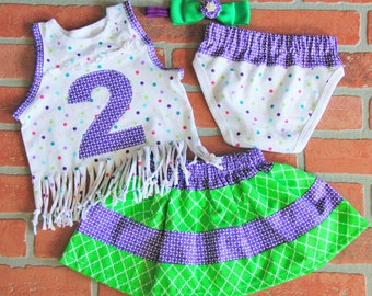 2 Year Old Cool Toddler Girl Birthday Outfit- 4 Piece Set