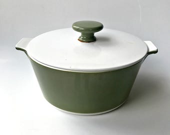 Mid Mod Avocado Green Corningware Casserole with Lid. 1 3/4 Quart Dish with Tab Handles.