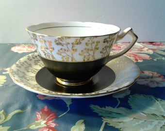 Free Shipping Gladstone Matte Black and Gold Cup & Saucer