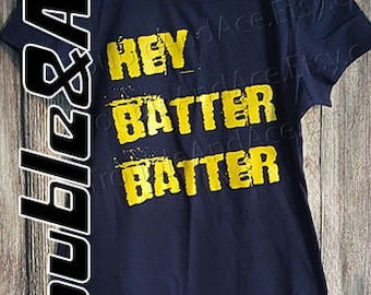 Hey Batter Batter Baseball Mom Women's Shirt Women's Trendy T-Shirt Navy Blue and Golden Yellow