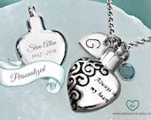 Heart urn pendant • Cremation jewelry • Ashes necklace • Cremation necklace • Memorial Urn • personalized urn • always in my heart keepsake
