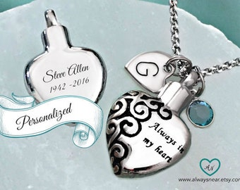 Heart urn pendant • Cremation jewelry • Ashes necklace • Cremation necklace • Memorial Urn • personalized urn • always in my heart keepsake