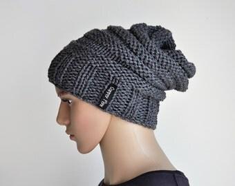 Slouch beanie, Grunge hat,Beanie men, hand knit hat, slouchy hat, winter hat, mens beanie, beanie hat, chunky knit beanie, Bamboo beanie.