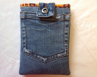 Kindle ereader slip cover or case recycled jean denim bright cotton lining.