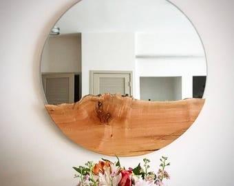 Round mirror/ liveedge mirror, large round mirror, rustic mirror, antique mirror, bathroom mirror, hanging mirror, wall mirror, mirror