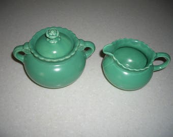 Vintage Taylor Smith and Taylor Vistosa Green Creamer and Covered Sugar Bowl Set