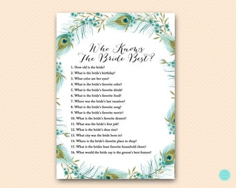 Peacock Bridal Shower Games, Who knows the Bride Best Game Printable, Bridal Shower Game, Bridal Shower Games Instant Download BS462