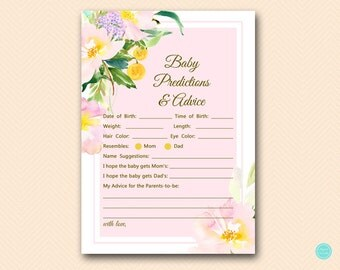 Baby Girl Predictions and Advice Printable, Predictions for Baby, Baby Predictions, Baby Shower Games, Baby Shower Activities TLC494