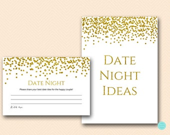 Gold Glam Bridal Shower Games, Date Night Cards, Date Night Ideas, Date Night Bridal Shower, Date Night Game, Bridal Shower Game, BS281