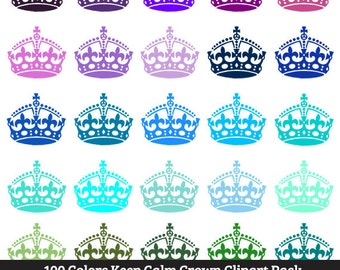 100 Colors Keep Calm Crown Clipart - Commercial Use, Printable, Large, Queen, King, Royal, Royalty, England, Pink, Blue, Black, Iron On