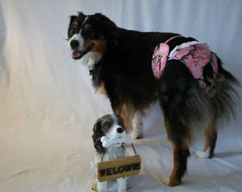 SALE 25% off Female dog diaper, Panties, dog Britches.  Washable Heat cycle,incontinence - Pink Camo, size XL  by angelpuppi