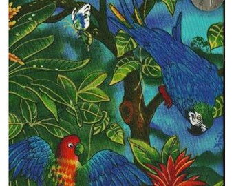 Timeless Treasures Quilting Cotton Fabric Macaw Parrots in Jungle 127600 - 1/2 Yard