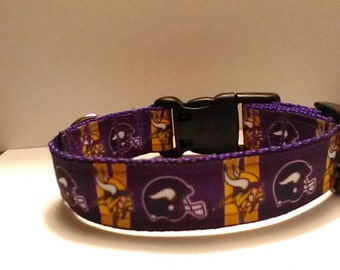 Handmade Minnesota Vikings dog collar  adjustable nylon