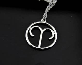 Aries Necklace, Silver Aries Charm Necklace, Zodiac Aries Charms, Zodiac Jewelry, Personalized Necklace, Constellations Aries Sign Charm