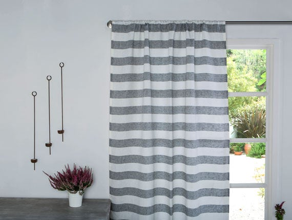 Linen Curtain-Linen Panel-Striped Linen Drapes In Grey And