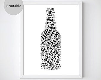 Beer Prints, Beer Gifts, Beer Art, Black and White Prints, Instant Download Art, Beer Lover Gift, Beer Gifts for Men, Unique Beer Gift