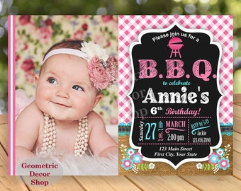 BBQ Plaid Birthday Party Invitation Invite Rustic 1st Birthday Pink teal aqua Girl Burlap denim barbecue barbeque Photo Photograph BDBBQ4