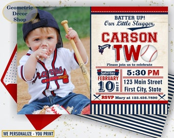 Second Birthday invitation Vintage Baseball Sports Invite 2nd All star invitations One Ball red blue invites photo photograph ticket BDSP15