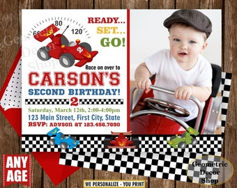 Race car birthday invitation - race car party invite - birthday invitation - vintage - race car - Photo - Photograph -Red Blue Green BDCar9