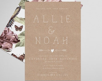 Country Wedding Invite . Countrywed . Printable Wedding Invitation, Printable Invite, DIY Wedding Invitation, Print at Home Invitation