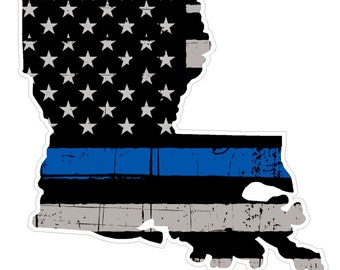 Louisiana State (V19) Thin Blue Line Vinyl Decal Sticker Car/Truck Laptop/Netbook Window