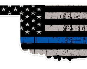Oklahoma State (U37) Thin Blue Line Vinyl Yeti Tumbler Decal Sticker Laptop/Netbook