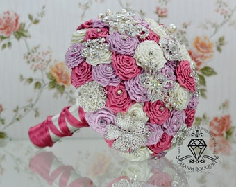 Brooch bouquet, wedding bouquet, Bridal bouquet, Silver bouquet, Bridesmaid bouquet, Crystal bouquet, Fuchsia & dusty rose bouquet, Ivory.