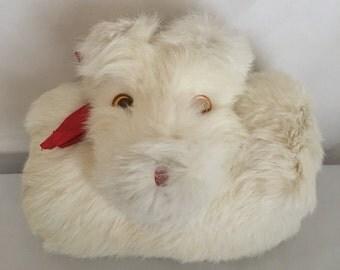 Vintage Rabbit Fur Dog Muff, Fur Hand Muff, Toddler Girls Muff, 1950's Hand Muff, Little Girls Muff