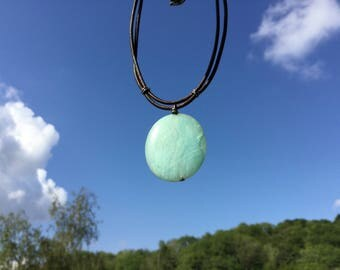 Blue mens pendant necklace, Amazonite stone, leather cord, mens jewelry