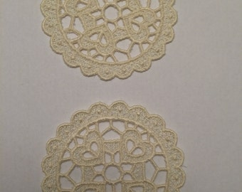Lace Coasters – Set of 2 – Machine Embroidered – FSL