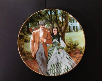 Gone with the Wind Collectible Plate  - Home to Tara Rhett and Scarlett