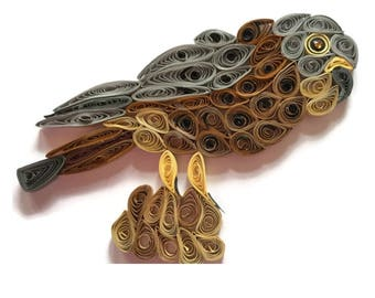 Bird Card, Kestrel Portrait,  Hunting Bird, Kestrel Sculpture, Falcon Card, Quilled Kestrel Art, Bird Spotters Card ,
