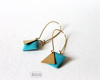 Sequin enamelled turquoise earring
