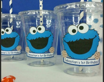 12 Personalized Cookie Monster Inspired Party Cups with Straws and Lids!