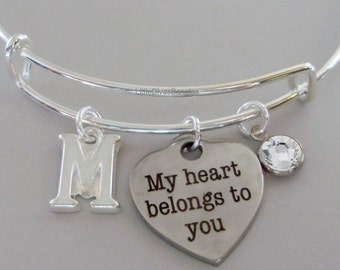 My Heart Belongs To You BANGLE - VALENTINE Day  Adjustable Bangle W/ Swarovski Birthstone Drop / Initial - Gift For Her Under 20 USA V1