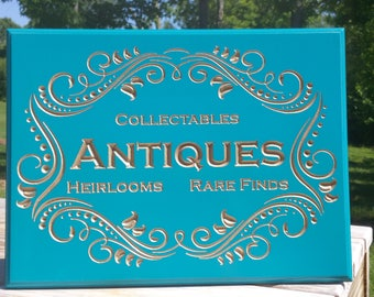 Vintage Inspired Antique Sign Painted with Carved Details