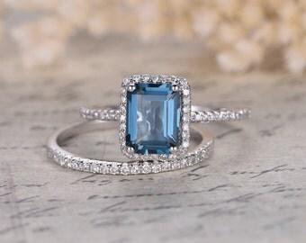Topaz Wedding Ring Set, Emerald Cut 6x8mm Blue Topaz Engagement Ring, 14K White Gold, Diamonds Wedding Band, Bridal Set