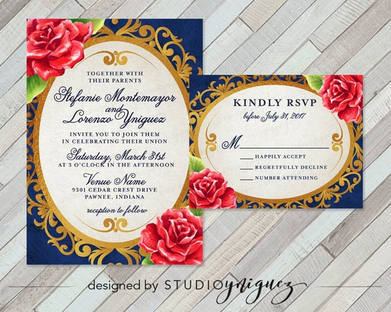 Beauty And The Beast Fairy Tale Printable Wedding Invitation Set, Enchanted  Mirror And Red Rose Wedding Invitation Set Invite And RSVP