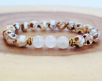 Dzi Agate Bracelet,White Quartz Mala Bracelet,Buddha bracelet, Wrist Mala Beads,Yoga Bracelet,Yoga Meditation Jewelry,Buddhist Bracelet