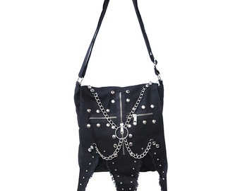 Gothic bag with chains and rivets