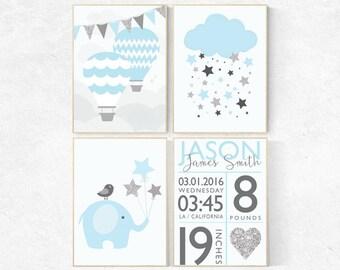 Baby boy nursery wall decor, blue nursery decor, blue and silver, dream big little one, elephant nursery, hot air balloon nursery, new baby